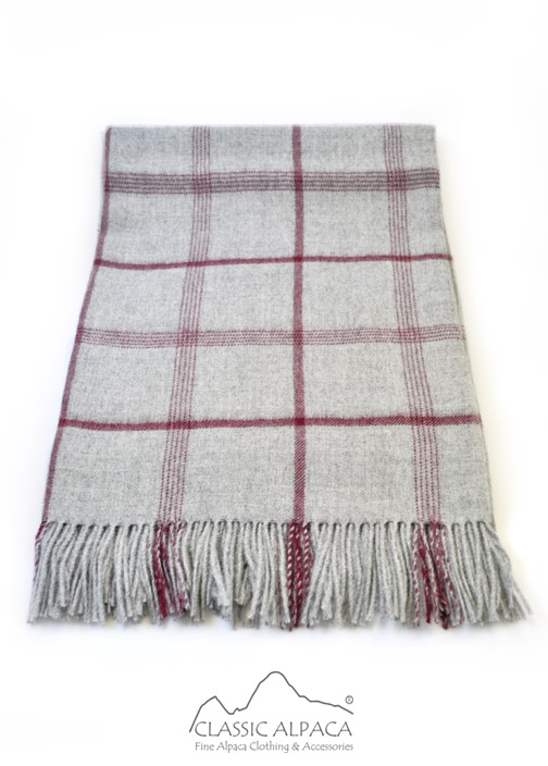 Woven & Brushed Double Plaid Baby Alpaca Throw