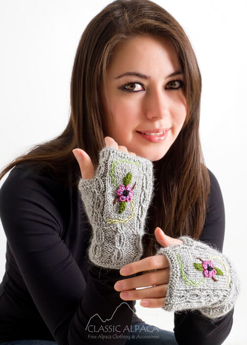 Embroidered Alpaca Fingerless Gloves