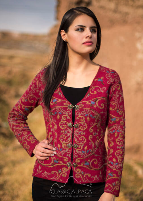 Full Embroidered Ladies Alpaca Cardigan