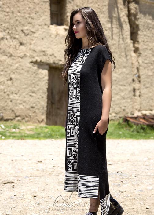 Alpaca Jacquard Long Sweater Dress