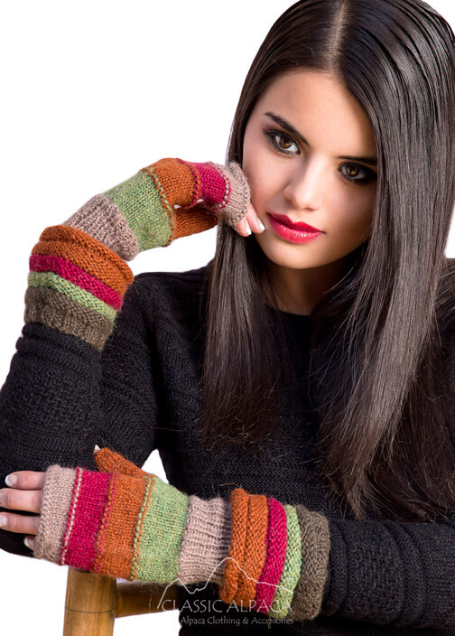 Striped Alpaca Long Fingerless Gloves