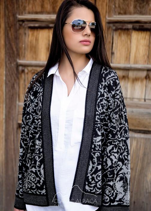Baby Alpaca Jacquard Kimono Jacket
