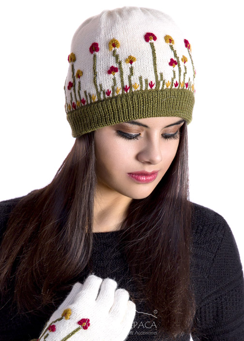 Embroidered Garden Alpaca Hat - Fleece Lining