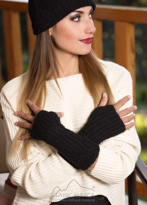 Madisson Alpaca Fingerless Gloves Long