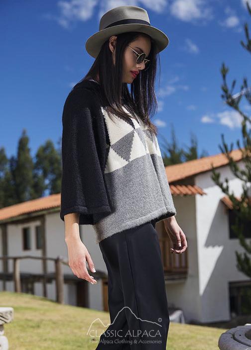 Mely Alpaca Cape w/Hood &  Short Sleeves