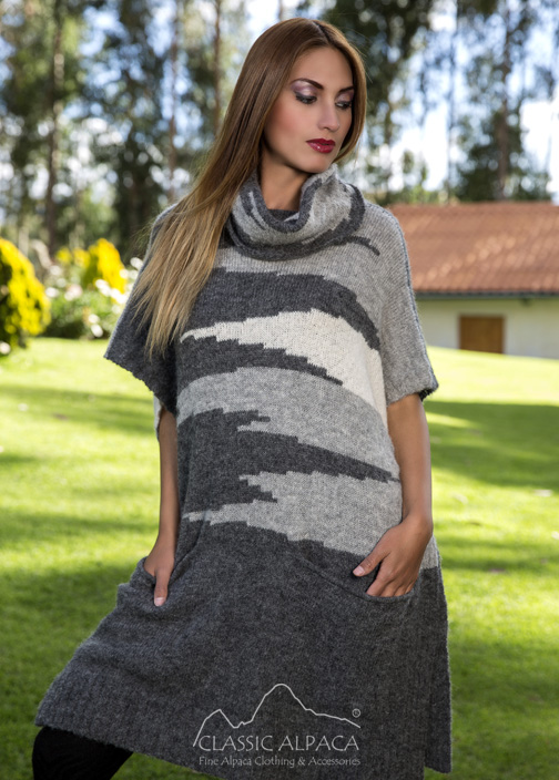 Intarsia Alpaca Cape w/Sleeves
