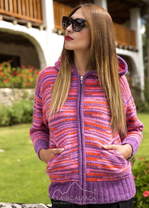 c4553fc0220 Multicolor Alpaca Hooded Jacket