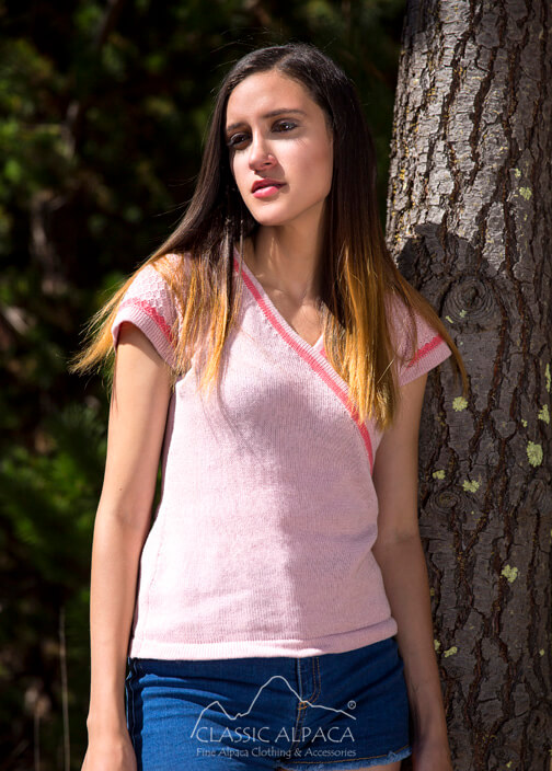 Cotton Baby Alpaca T-shirt Wrap Top