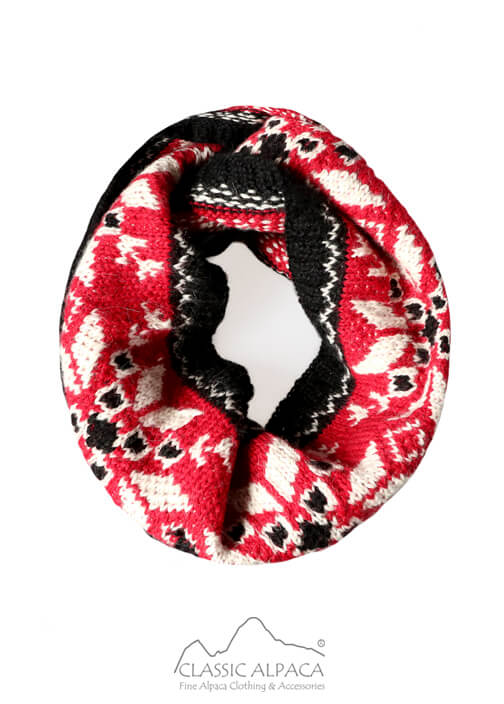 Nordic Embroidered Baby Alpaca Infinity Scarf