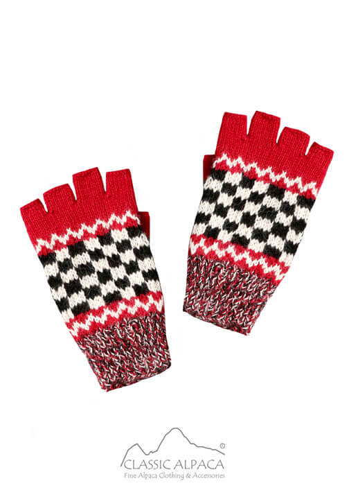 Checkboard Baby Alpaca Half Finger Gloves