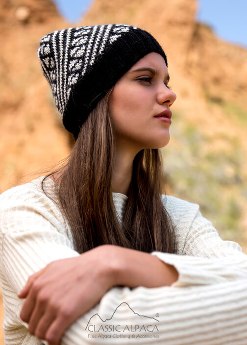 Diagonal Striped Alpaca Hat