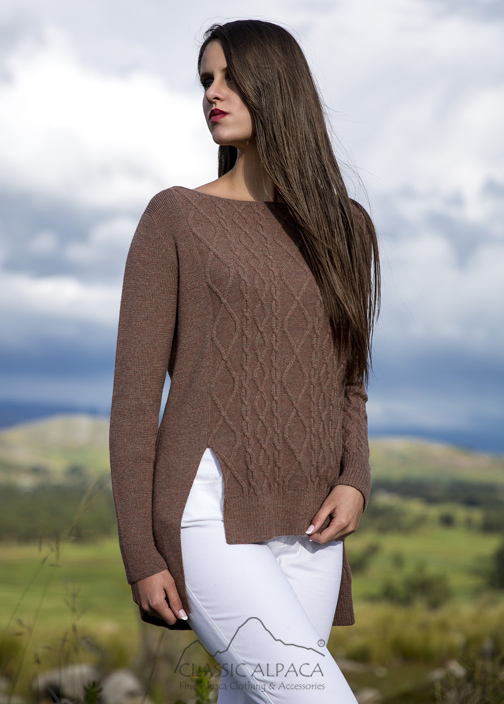Cable Asymmetric Baby Alpaca Long Sweater