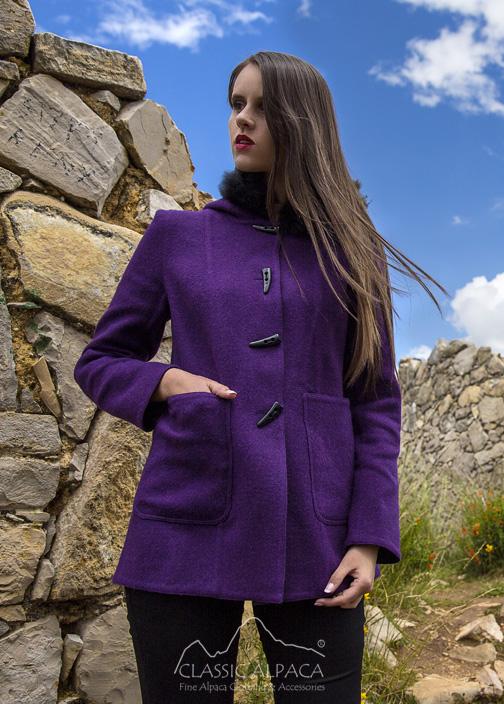 Ladies Reversible Alpaca Toggle Coat with Fur