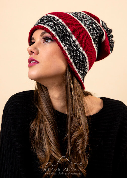 Reversible Alpaca Beanie Hat