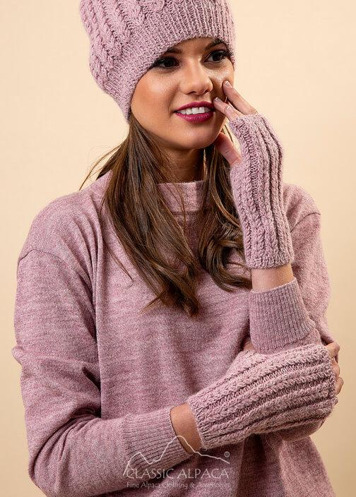 Aubrey Alpaca Knit Fingerless Gloves