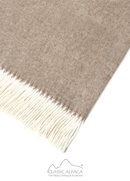 Woven & Brushed Herringbone Baby Alpaca Throw
