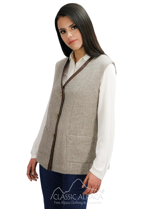 Royal Baby Alpaca Vest & Lambskin Leather | Classic Alpaca Peru