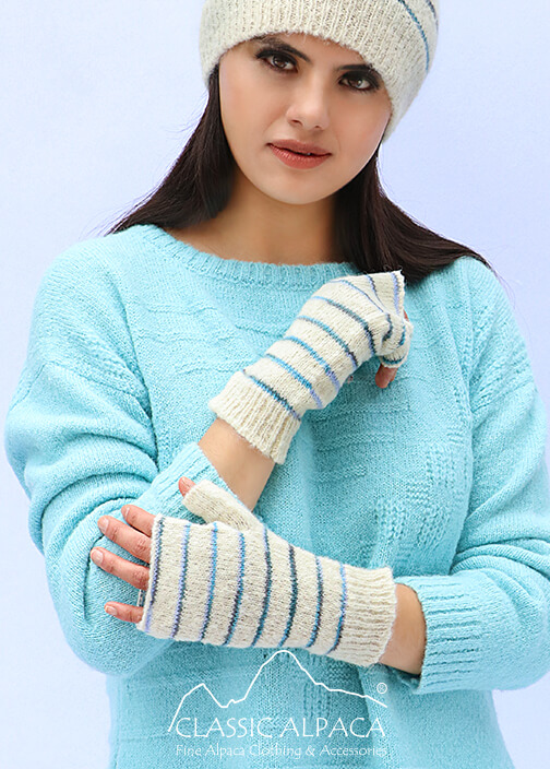 Brushed Striped Alpaca Fingerless Gloves