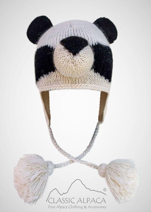 Alpaca Kids - Panda Alpaca Hat with Ear Flaps