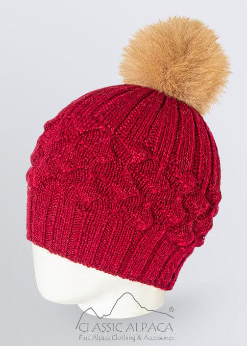 Priscilla Alpaca Fur Pompom Hat