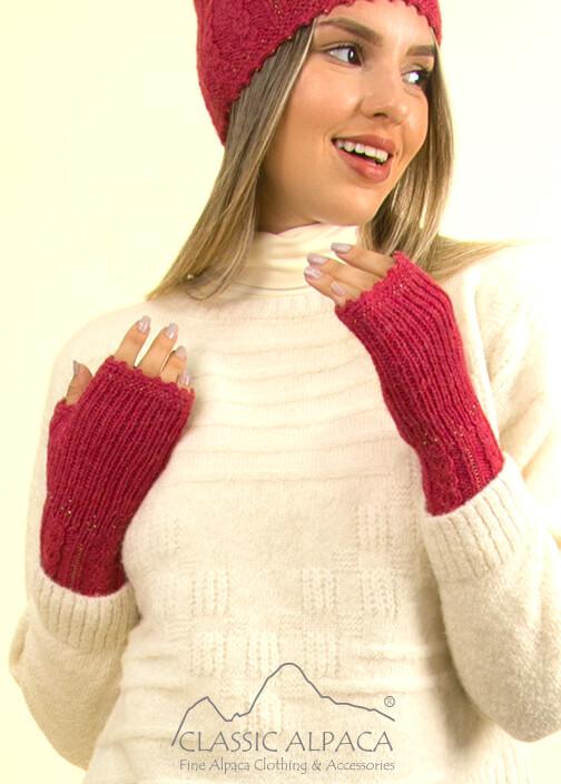 Alpaca Cable Fantasy Fingerless Gloves   Classic Alpaca Peru