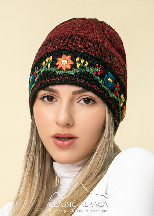 Alpaca Embroidered Leaf Hat - Fleece Lining | Classic Alpaca Peru