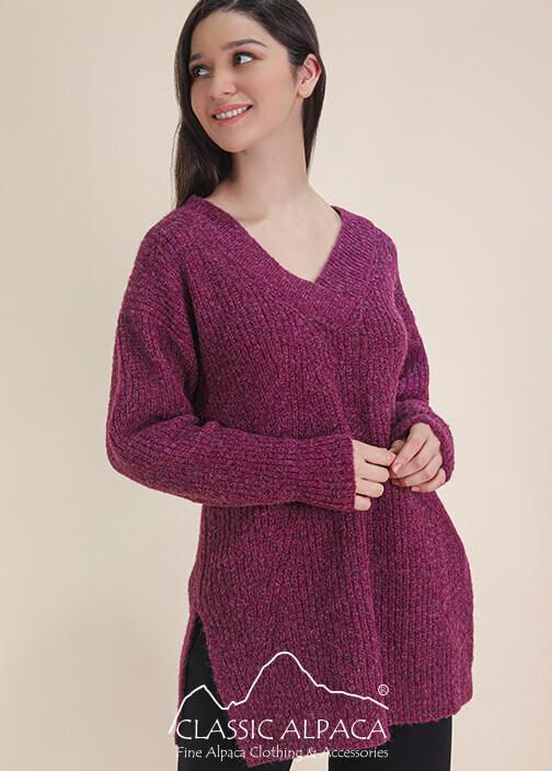 V Neck Brushed Alpaca Sweater | Classic Alpaca Peru
