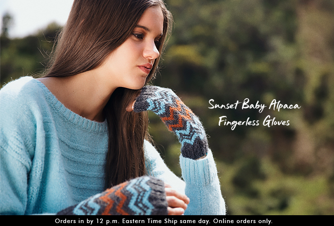 Sunset Baby Alpaca Fingerless Gloves
