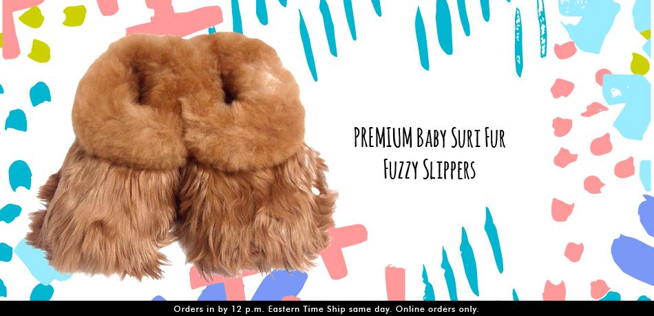 Alpaca Baby Suri Fur Fuzzy Slippers