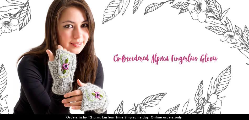 Embroidered Alpaca Fingerless Gloves