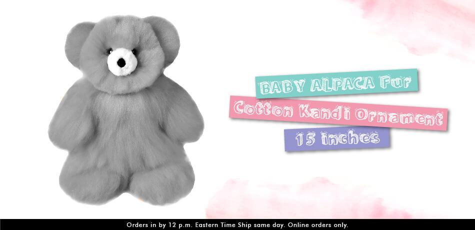 BABY ALPACA Fur - Cotton Kandi Ornament 15 inches