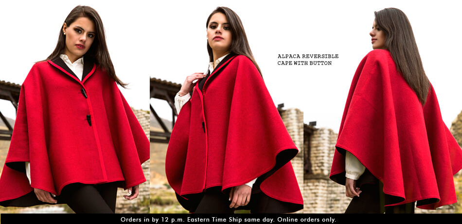 Alpaca Reversible Cape with Button