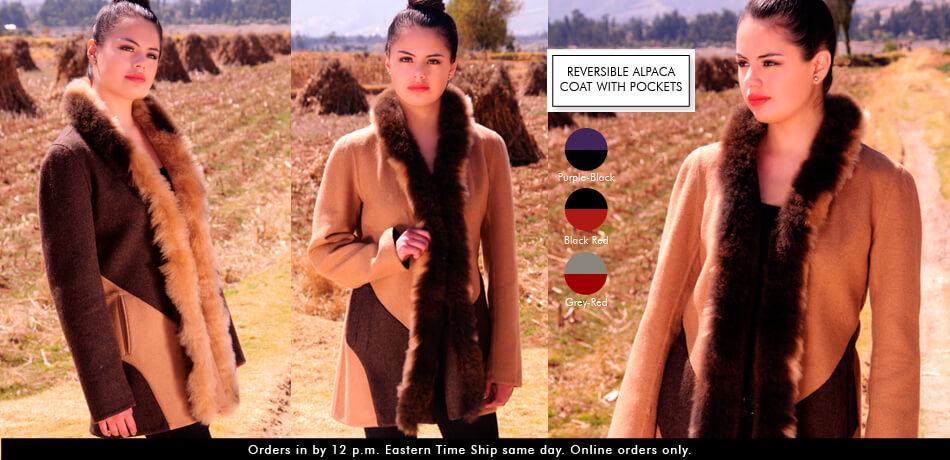 Reversible Alpaca Coat With Pockets