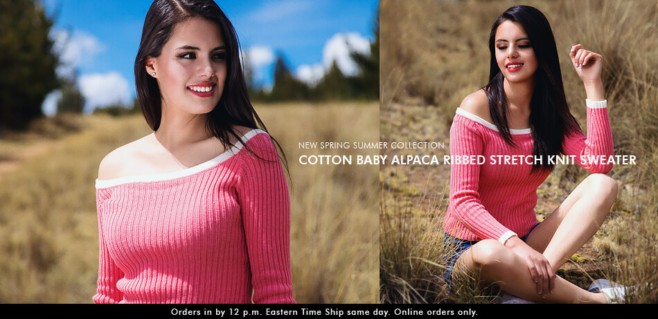 Cotton Baby Alpaca Ribbed Stretch Knit Sweater