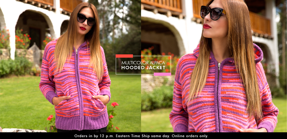 Multicolor Alpaca Hooded Jacket