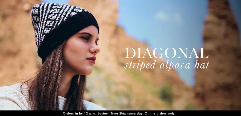 Diagonal Striped Alpaca Hat