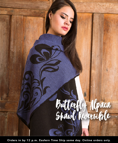 Butterfly Alpaca Shawl Reversible