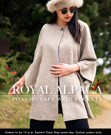 Royal Alpaca Poncho Cape With Pockets