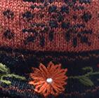 Alpaca Embroidered Leaf Hat - Fleece Lining in Lt.Orange | Classic Alpaca Peru