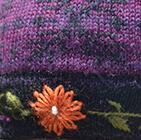 Alpaca Embroidered Leaf Hat - Fleece Lining in Purple | Classic Alpaca Peru