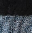 Sapphire-FurBlack Diamond Cable Alpaca Gloves With Fur