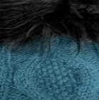 Sapphire Mlge.-FurBlack Diamond Cable Alpaca Fur Suri Hat