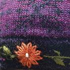 Alpaca Embroidered Leaf Gloves in Purple | Classic Alpaca Peru