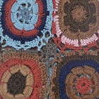 Brown Mlg. Crocheted Flowers Alpaca Scarf