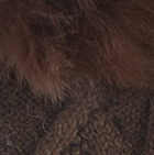 Brown-FurBrown Diamond Cable Alpaca Gloves With Fur