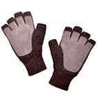 Brown Mlge.-Beige Alpaca Half Finger Double Layer Driving Gloves