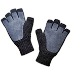 Charcoal-Grey Alpaca Half Finger Double Layer Driving Gloves