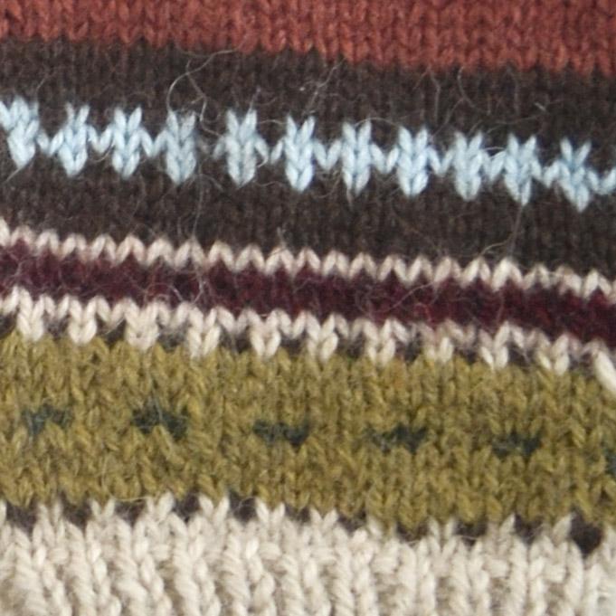 Beige-Multicolor1 Textured Ski Alpaca Hat
