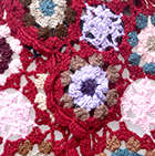 Burgundy Crocheted Flowers Alpaca Scarf