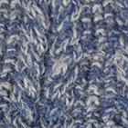 Alpaca Cable Fingerless Gloves in Mixt.Denim-Lt.Grey | Classic Alpaca Peru
